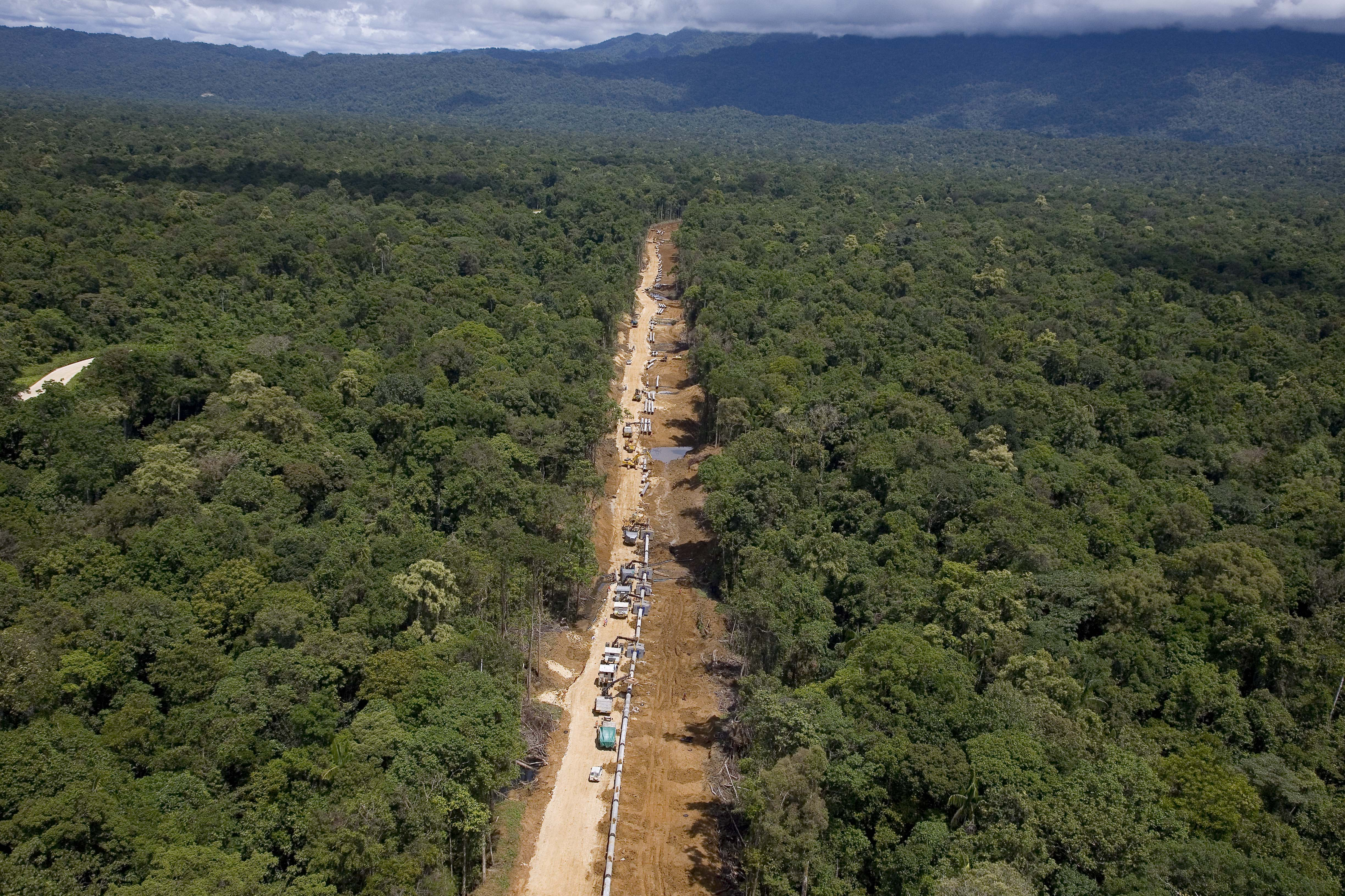 Aerial photos of EPC5A Onshore Pipeline and associated activities and landmarks at ExxonMobil's LNG project in Papua New Guinea, December 2011